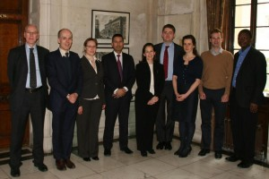 AMMF and the Imperial  Cholangiocarcinoma Research Team - l to r: AMMF Trustee Harry Corrigan, Professor Simon Taylor-Robinson, Dr Verena Horneffer van der Sluis, Dr Shahid Khan,  AMMF's Helen Morement, Dr Chris Wadsworth, Dr Abigail Zabron, Dr Simon Ralphs, Dr Nimzing Ladep