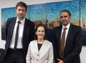 AMMF's Helen Morement with Professor Dan Palmer (l) and Mr Hassan Malik (r)