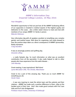 Comments from some of those who attended AMMF's Information Day ...
