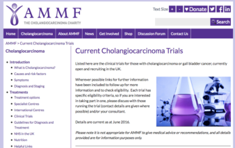 Cholangiocarcinoma clinical trials, currently open in the UK