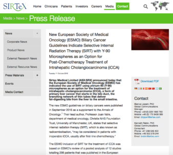 Sirtex press release about SIRT for the treatment of cholangiocarcinoma