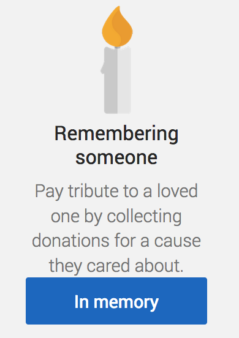 Remembering someone via Just Giving