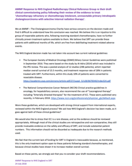AMMF's response to NHS England re SIRT for ICC