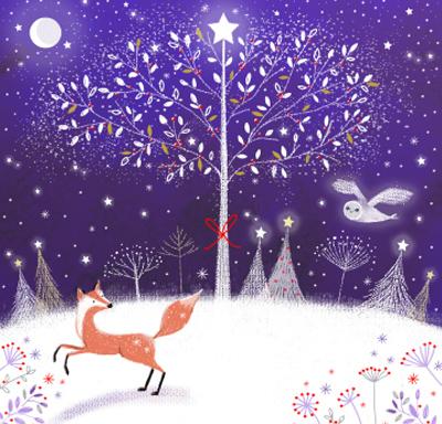 Snowy Christmas.Xmas Card Ammf Fox On Snowy Hill
